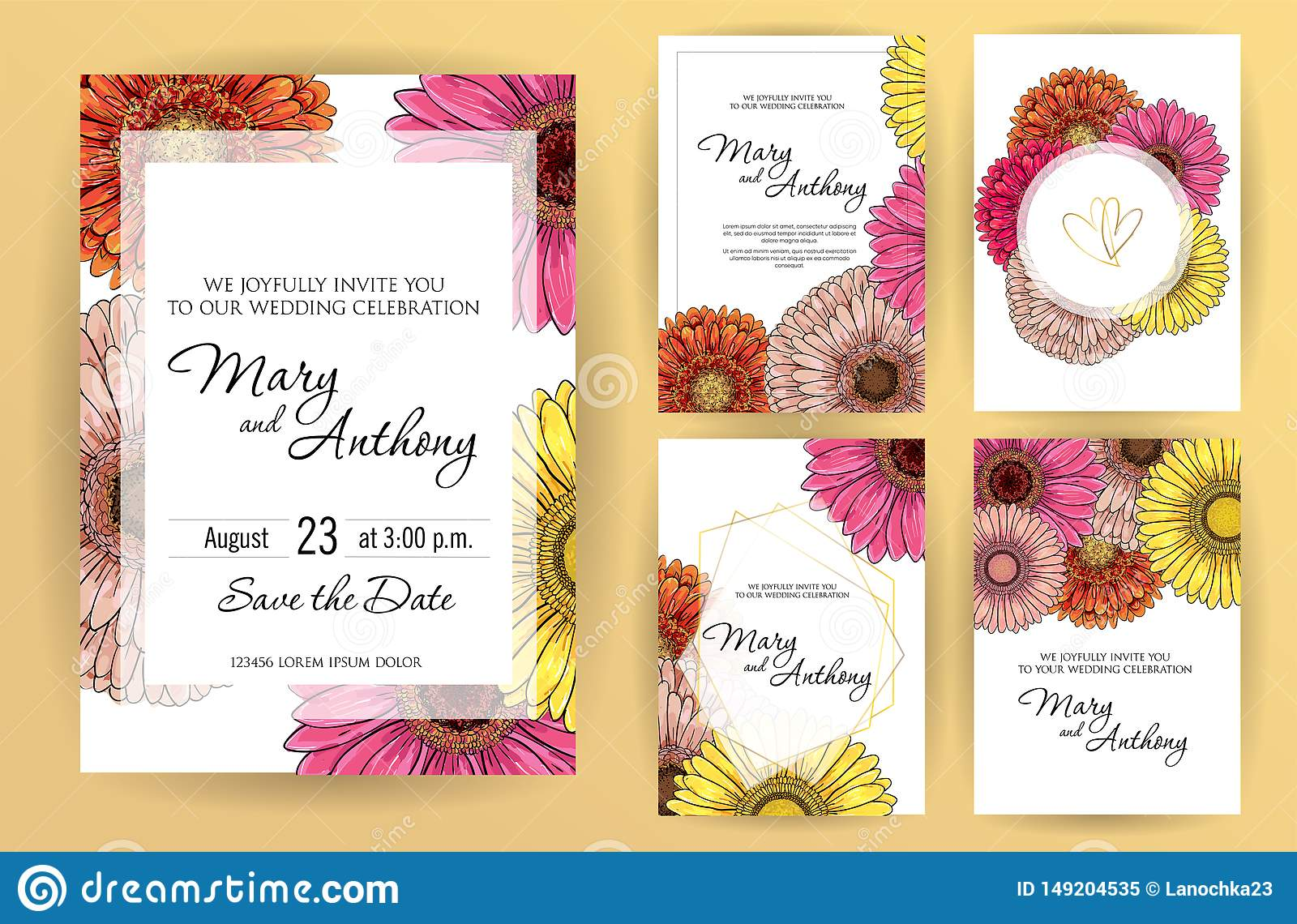 Set Of Wedding Invitation Card Flowers Gerbera A5 Wedding