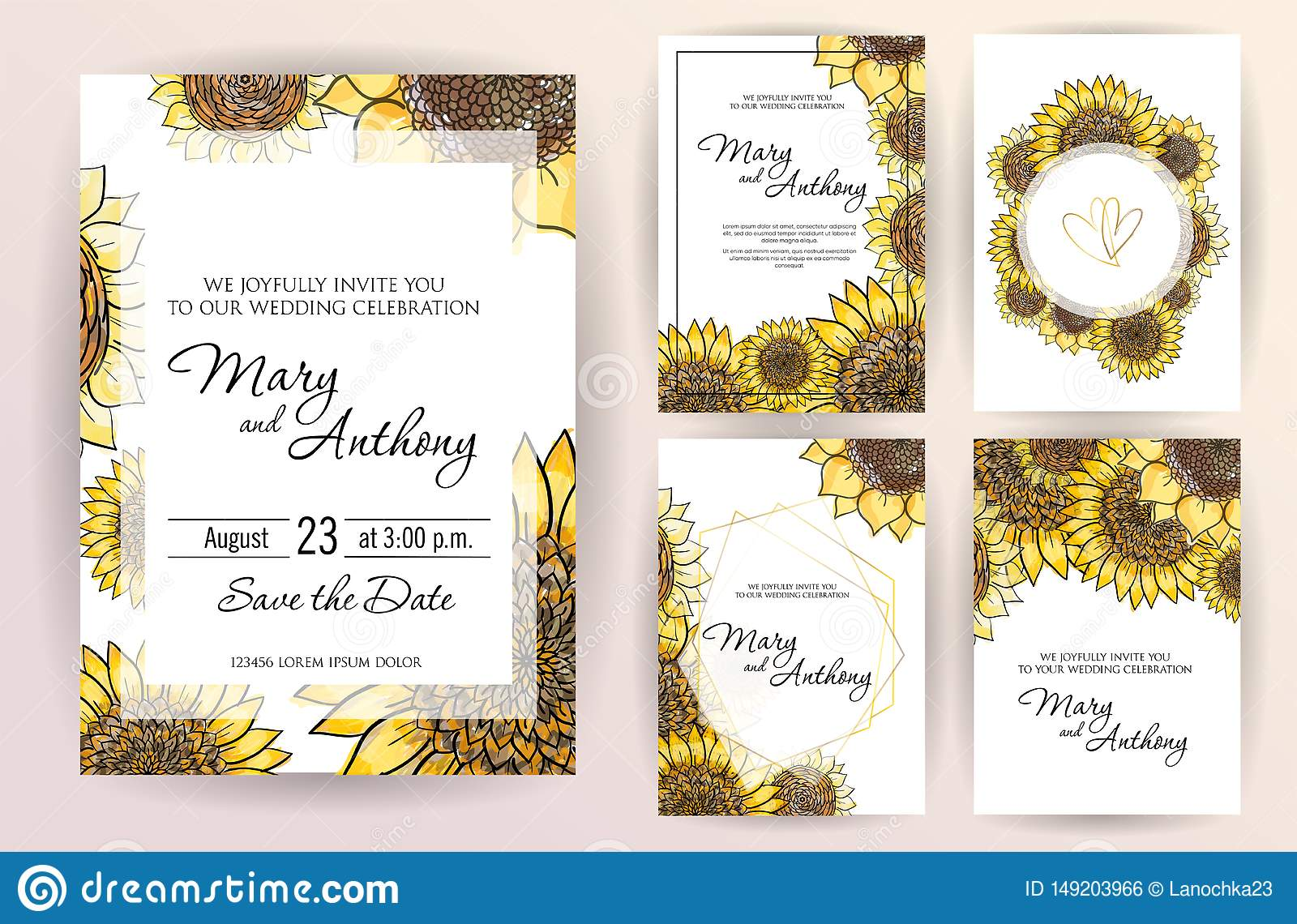 Set Of Wedding Invitation Card Flowers Sunflower A5 Wedding