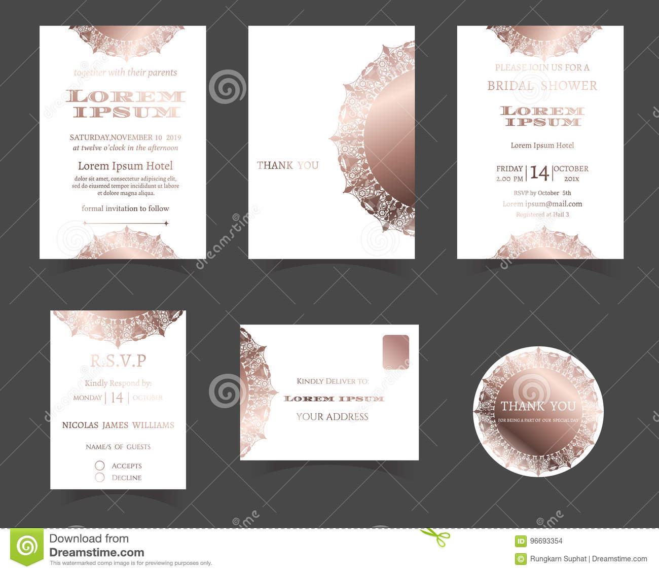 Set of Wedding Invitation Card. Laser Cut Collection. Rose Gold Style.