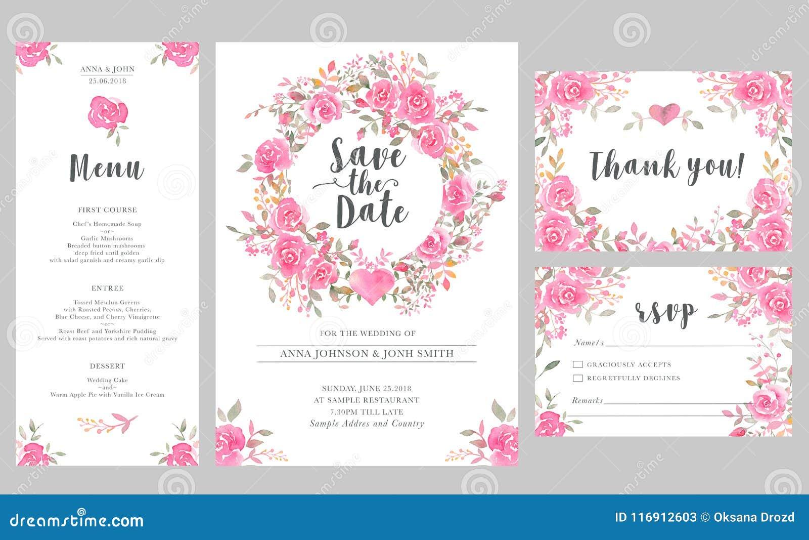 Set of wedding invitation card templates with watercolor rose download set of wedding invitation card templates with watercolor rose flowers stock illustration illustration stopboris Choice Image