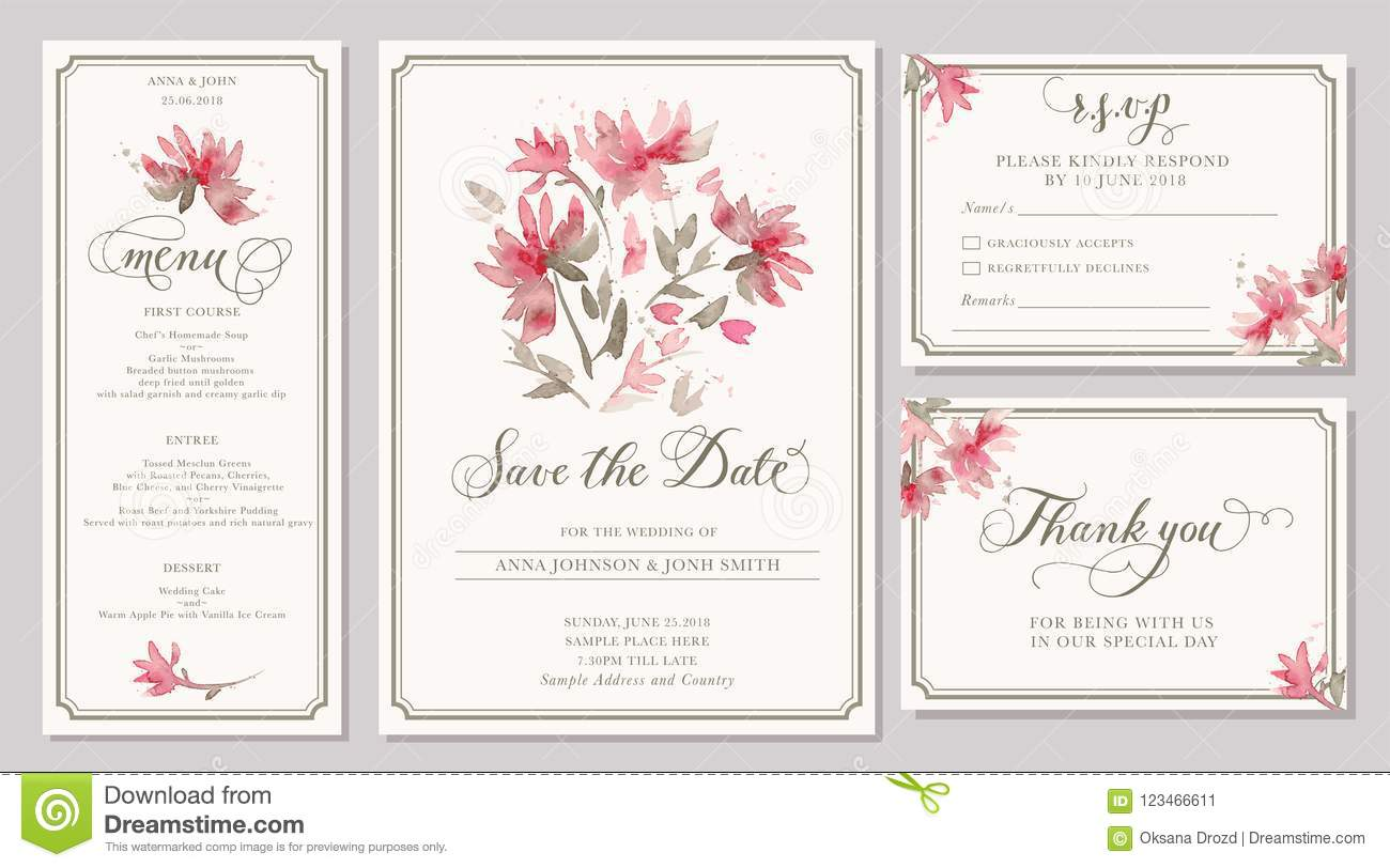 Set Of Wedding Invitation Card Templates With Watercolor Stylize