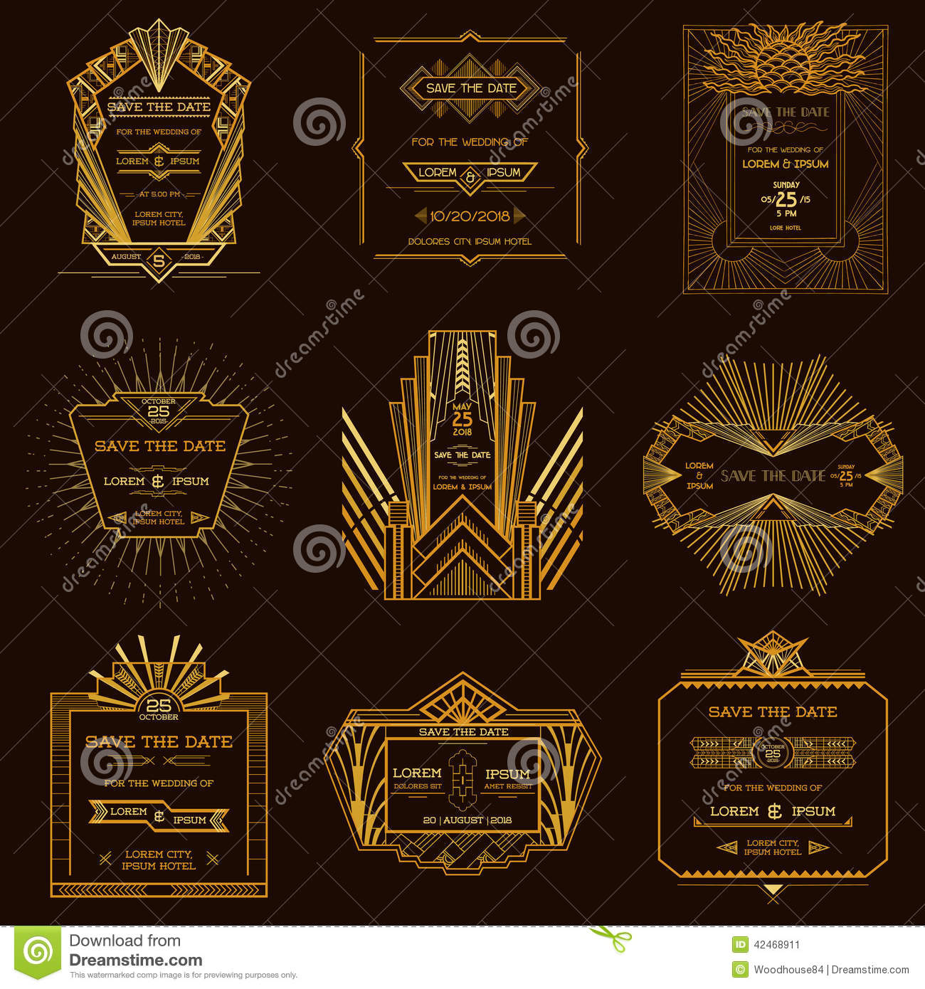set of wedding invitation cards art deco stock vector illustration of elegant curve 42468911. Black Bedroom Furniture Sets. Home Design Ideas