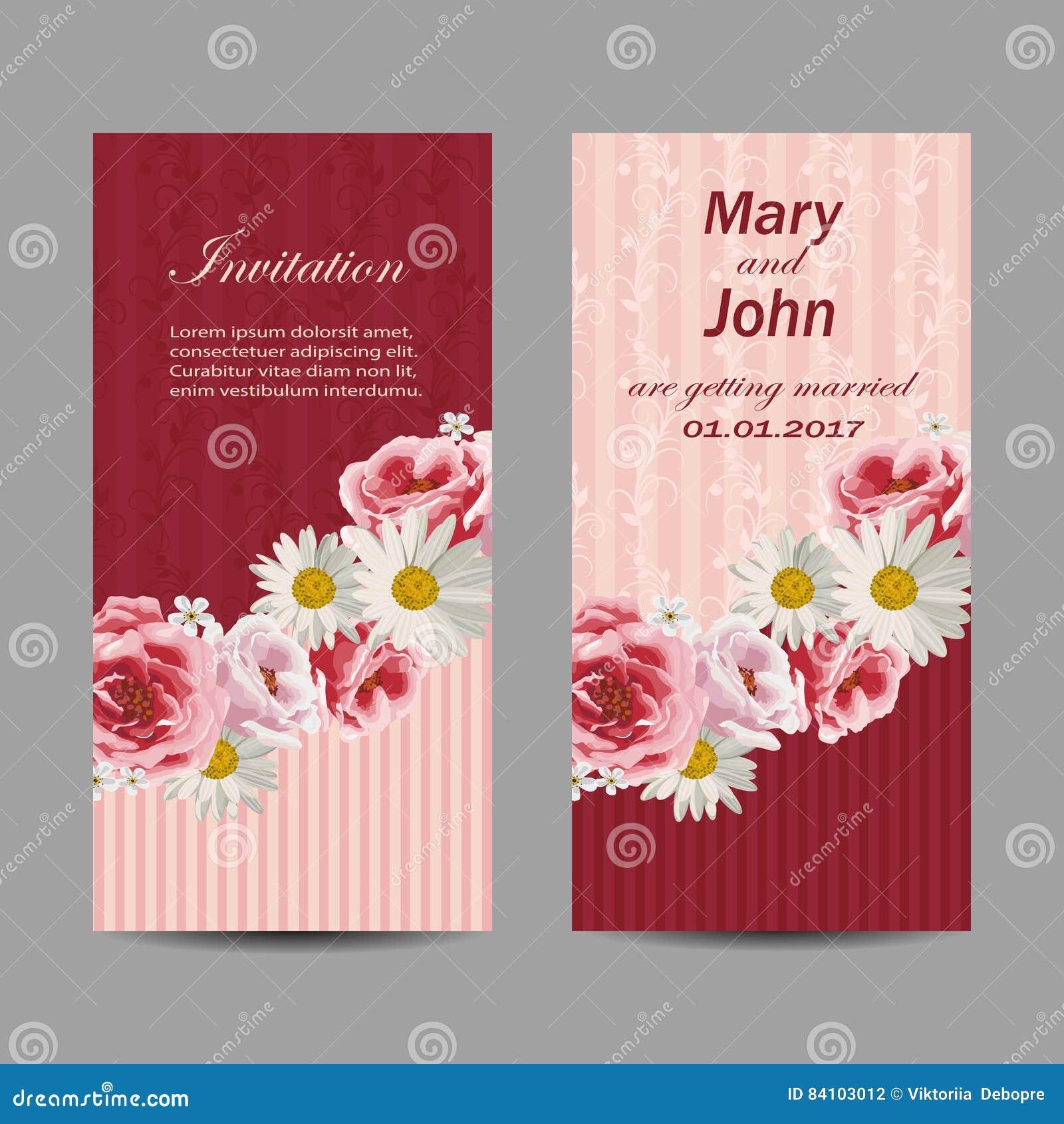 Set Of Wedding Invitation Cards Design. Stock Illustration ...