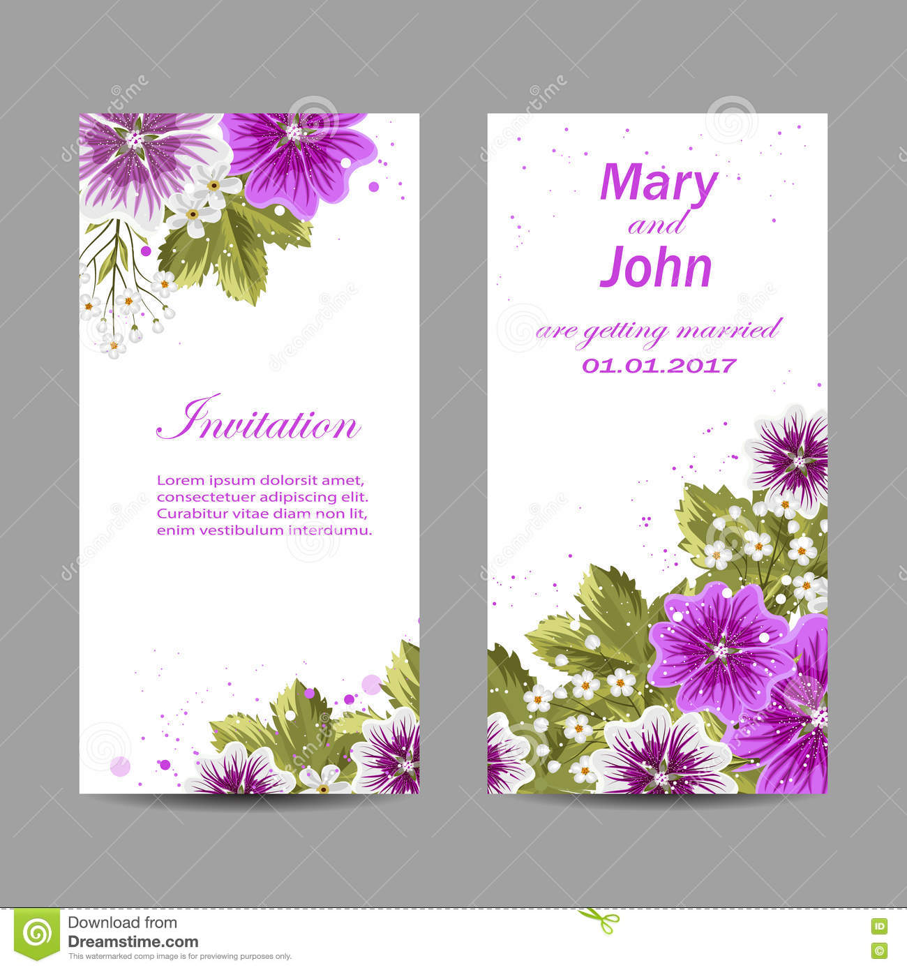 set wedding invitation cards design beautiful purple flowers white background vector illustration 74142463