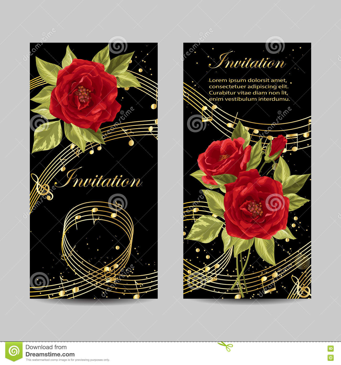 Set Of Wedding Invitation Cards Design. Stock Vector - Illustration ...
