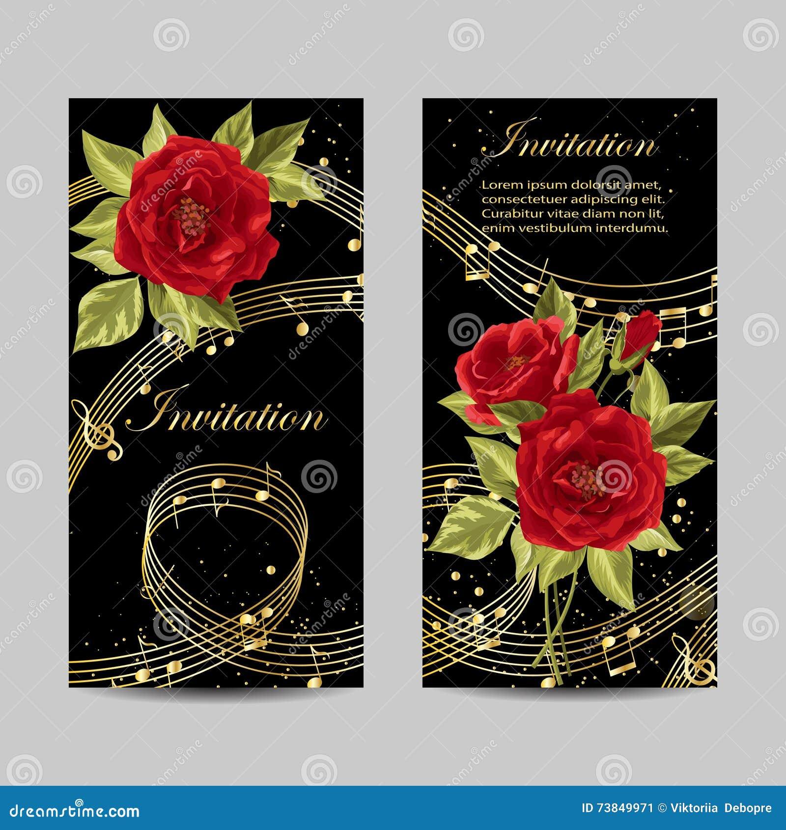Set Of Wedding Invitation Cards Design. Stock Vector - Illustration ...