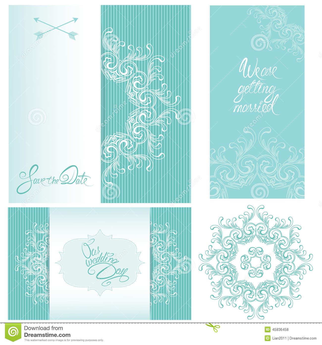Set of wedding invitation cards with floral elements stock vector download comp stopboris Images