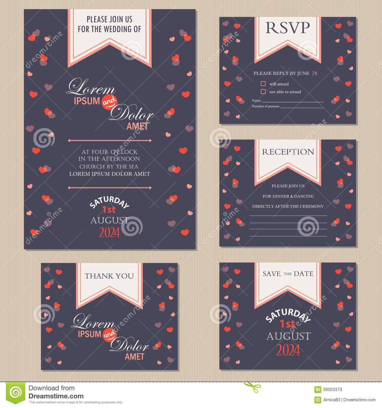 Set of wedding invitation cards with hearts stock vector download set of wedding invitation cards with hearts stock vector illustration of brochure marriage stopboris Image collections