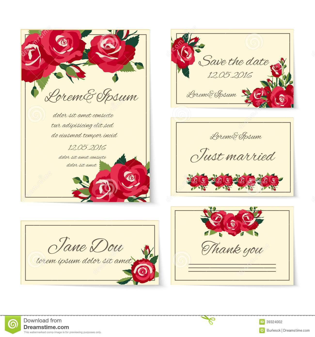 set of wedding invitation cards with roses stock vector illustration of card romance 39324002. Black Bedroom Furniture Sets. Home Design Ideas