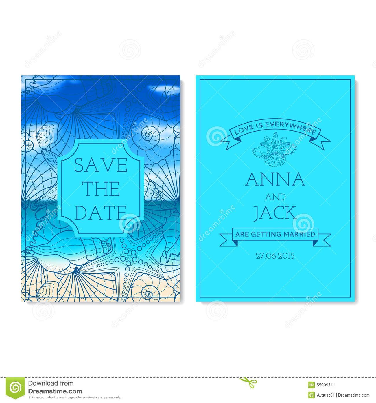 Set Of Wedding Invitation Cards Stock Vector Illustration Of