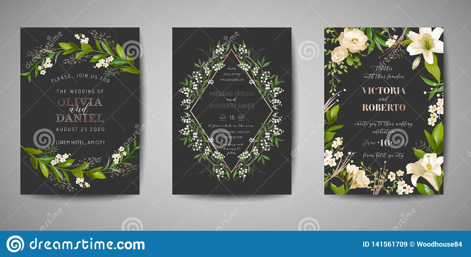 Set Of Wedding Invitation, Floral Invite, Thank You, Rsvp Rustic Card  Design With Gold Foil Decoration. Elegant Modern Template Stock Vector -  Illustration of gold, border: 141561709