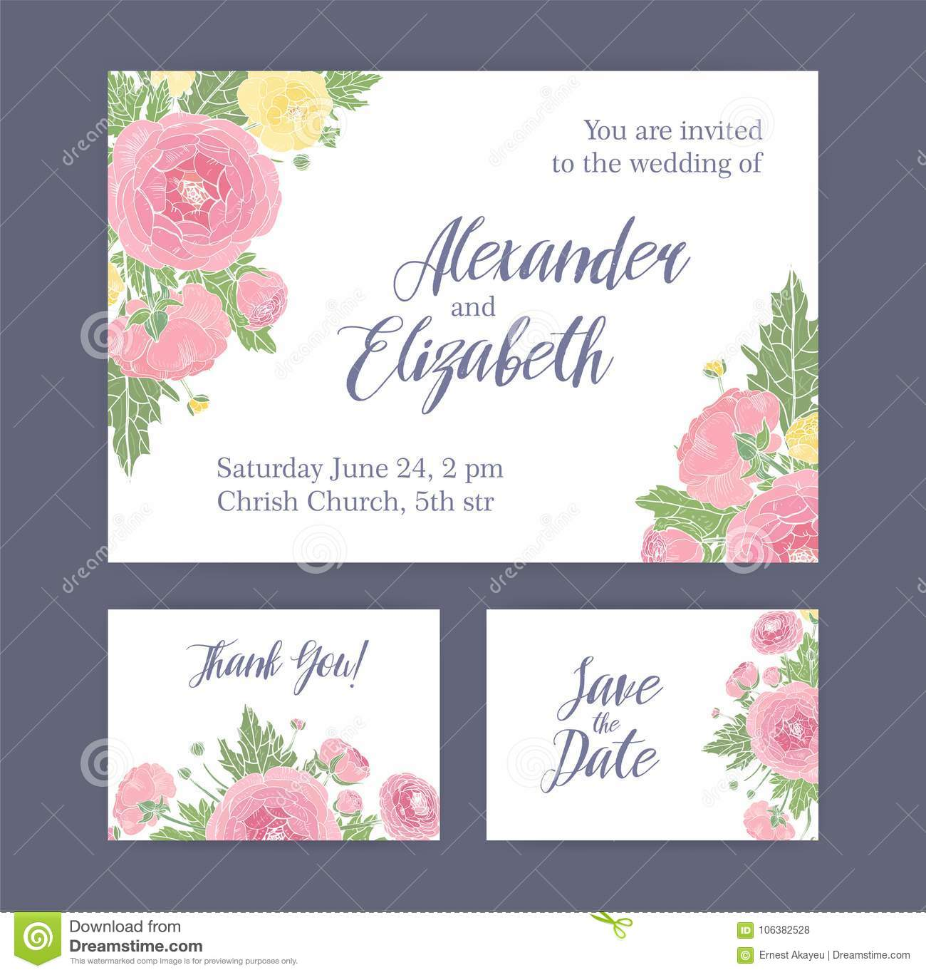 Thank You Letter For Wedding Invitation: Set Of Wedding Invitation, Save The Date Card And Thank