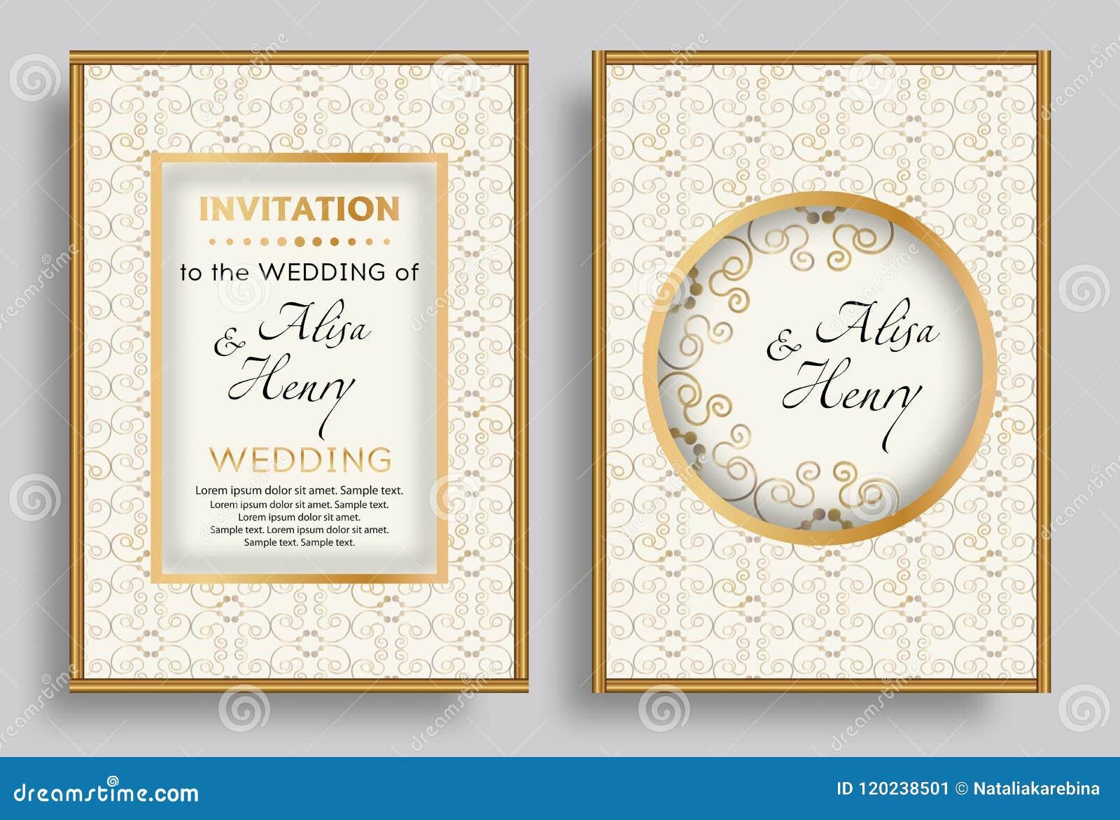 Set Wedding Invitation Template Elegant Background With