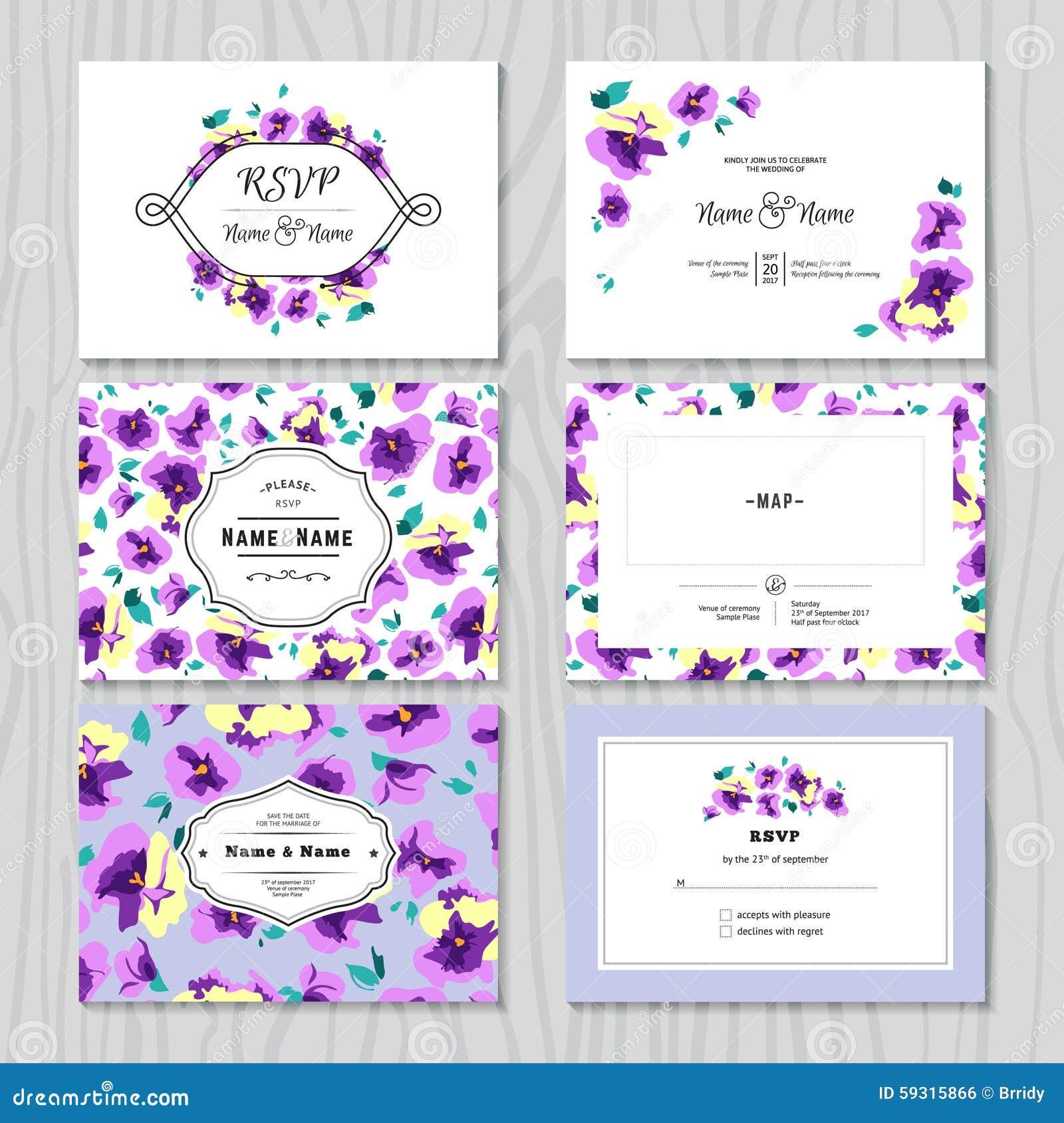 Set Of Wedding Invitation Templates Cards Stock Vector ...