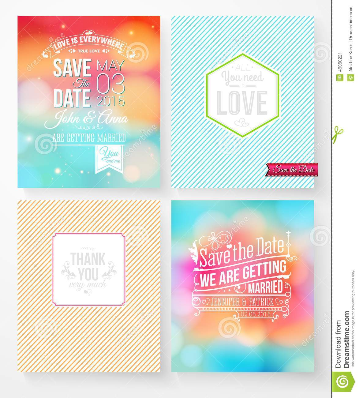 Set Of Wedding Invitation Templates Stock Vector Image 49060221