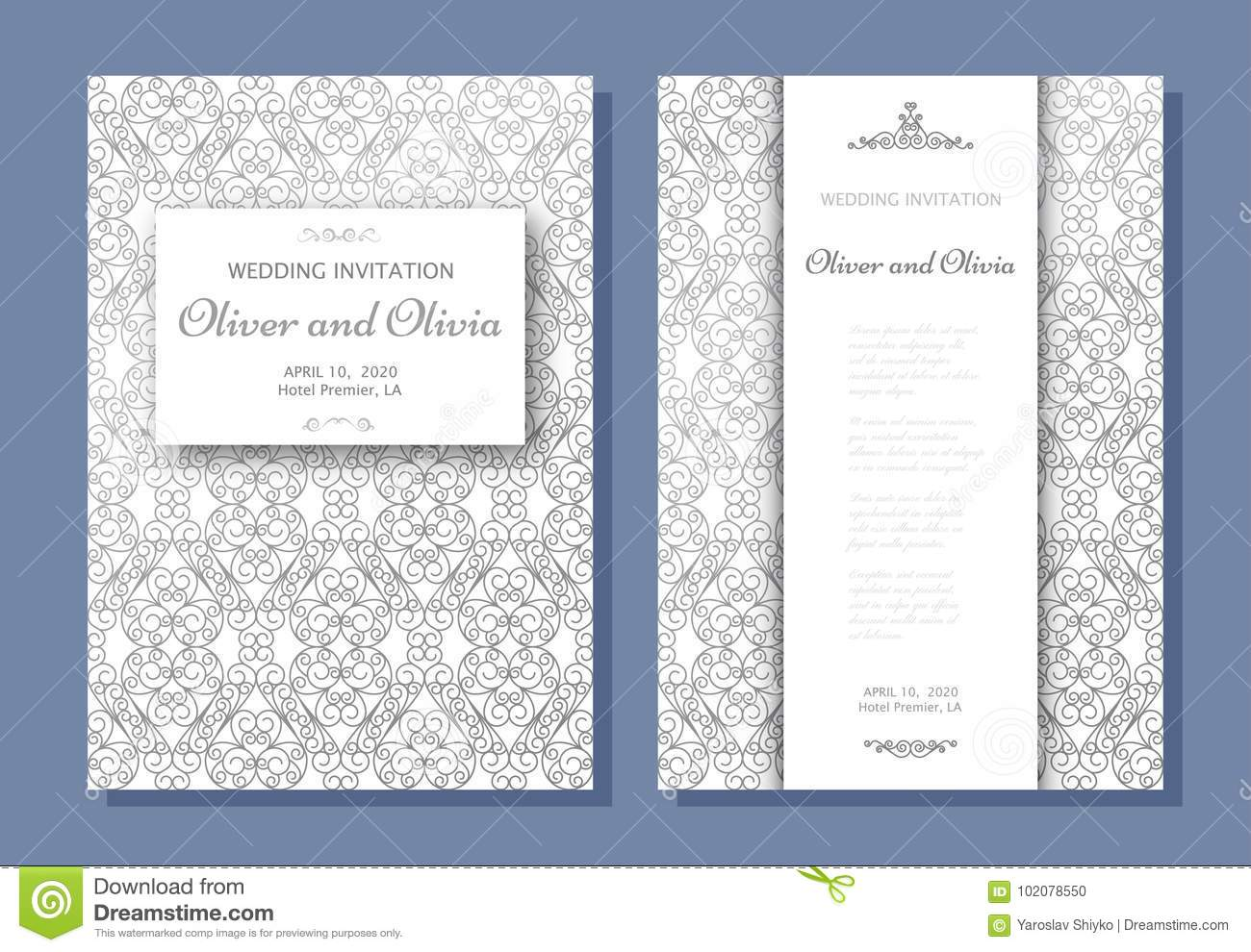 Set Of Wedding Invitation Templates Cover Design With Silver Swirl