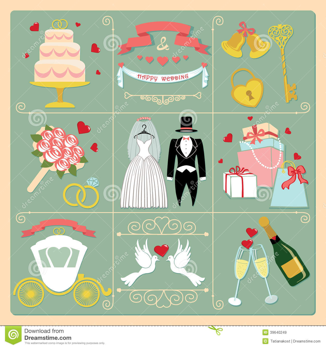 Set Of Wedding Invitation Vintage Design Elements Stock Vector