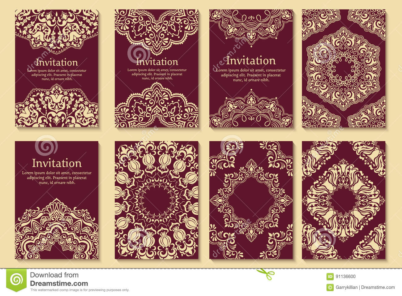 Set Of Wedding Invitations And Announcement Cards With Ornament In ...