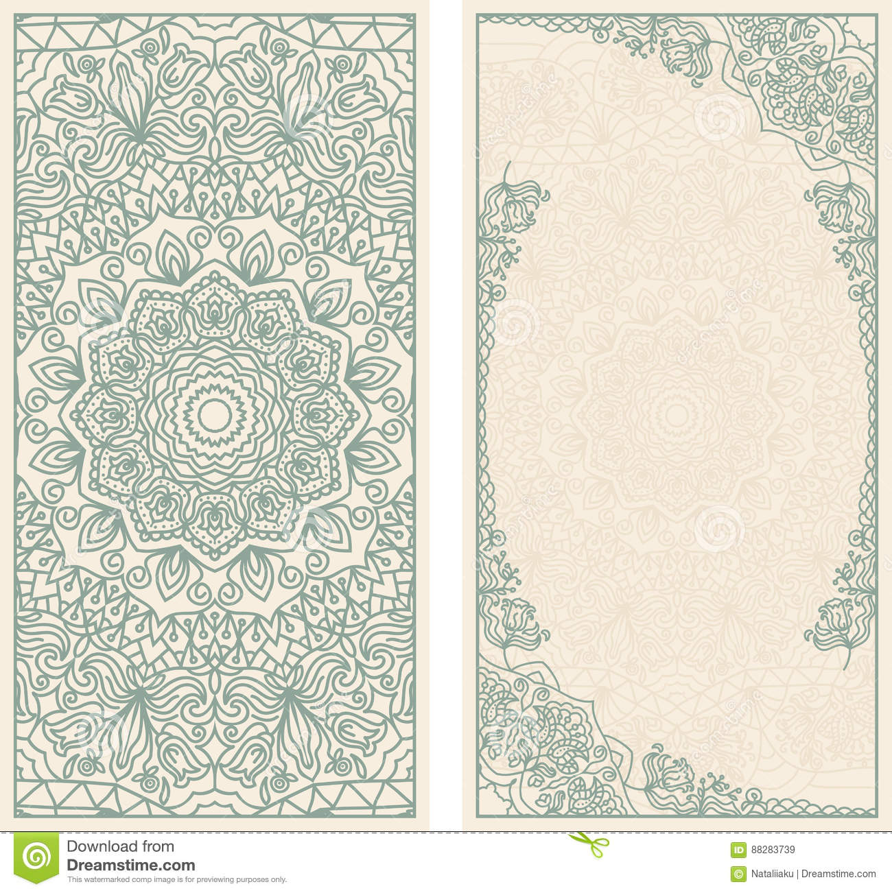 Set Of Wedding Invitations Or Greeting Cards With Floral Mandala In