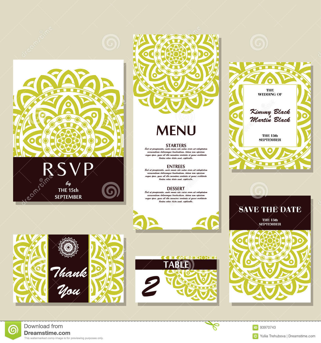Vector wedding collection. Templates for invitation, thank you.