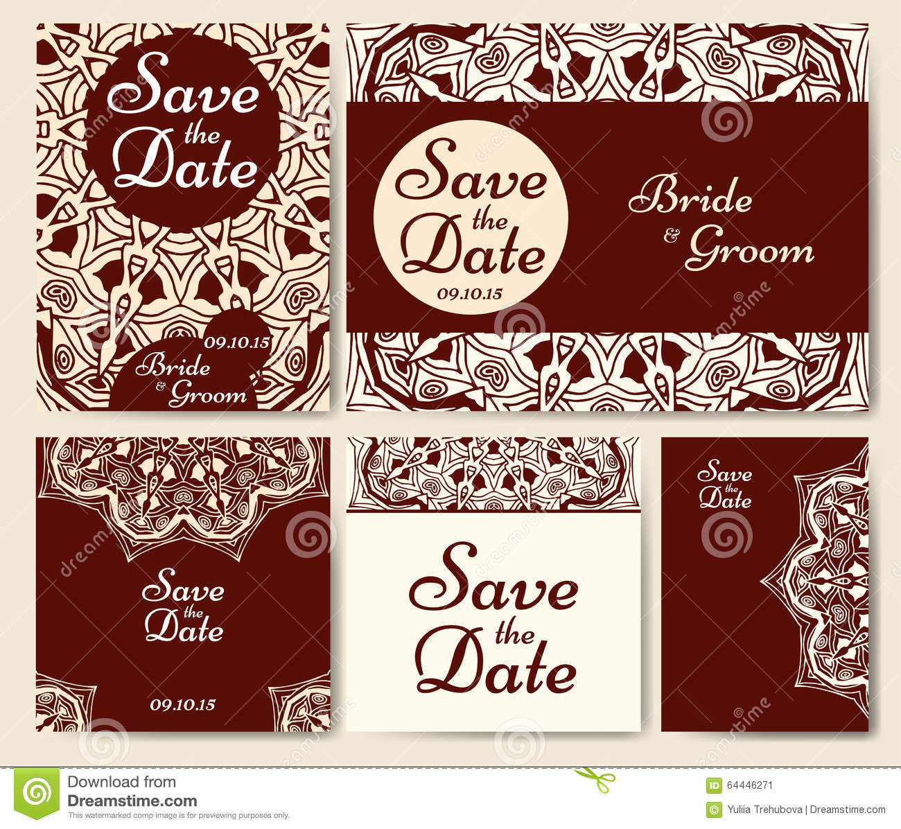 Set Of Wedding Invitations. Wedding Cards Template With Individual ...
