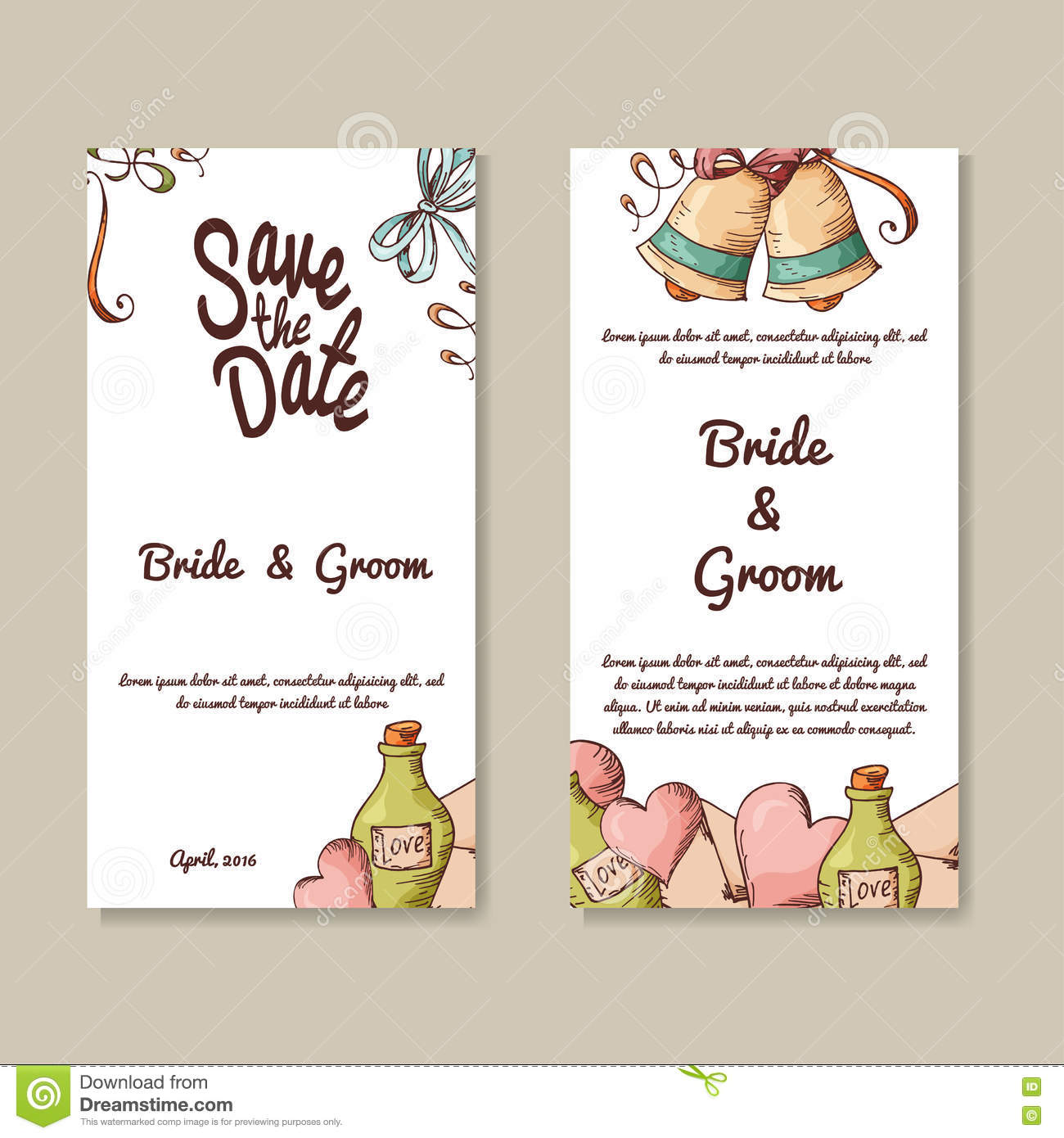Set of wedding invitations wedding cards template with for Wedding invitation cards gowliguda