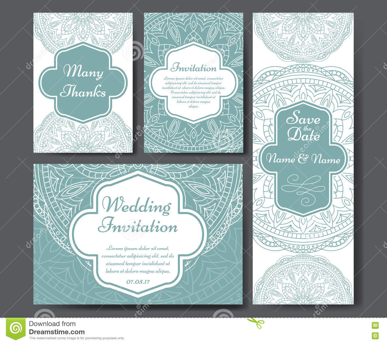 Set Of Wedding Invitations. Wedding Cards Template With ...