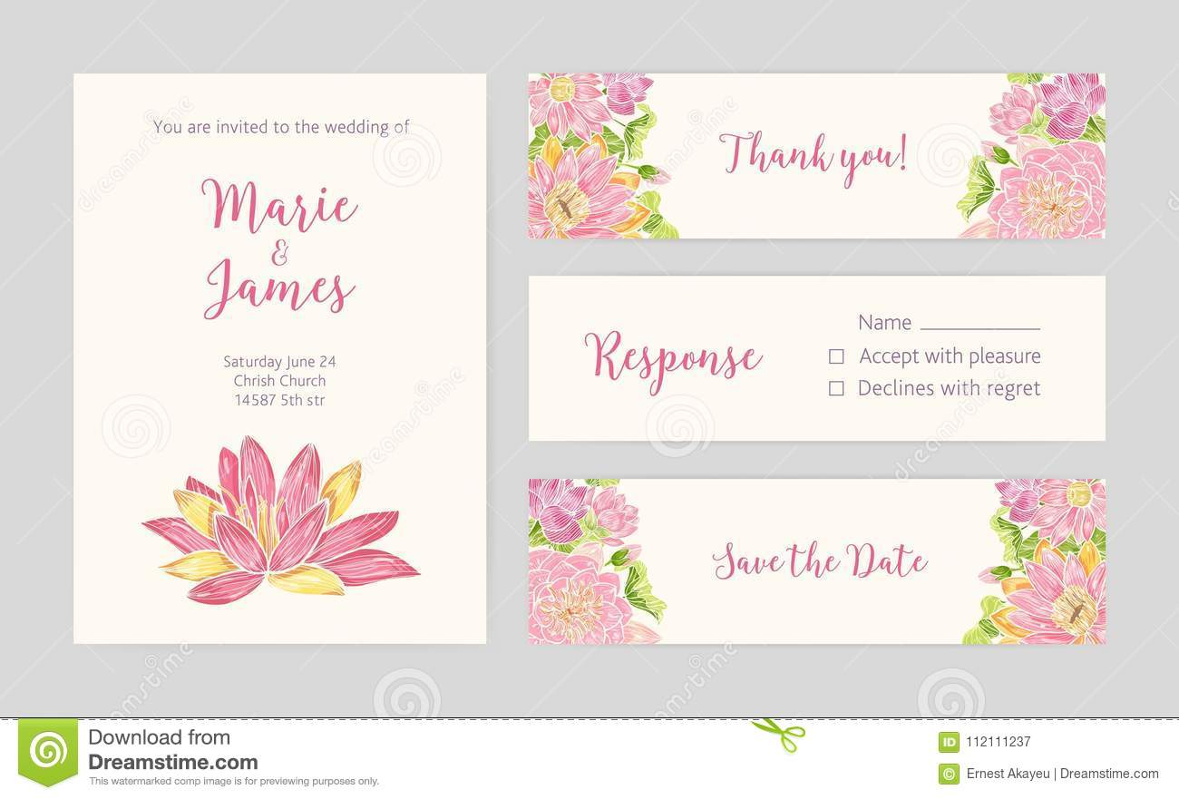 Set Of Wedding Party Invitation Save The Date Card Response And