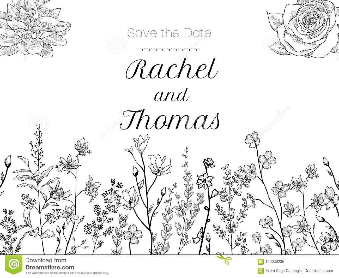 Set of wedding party invitation and Save The Date card templates with Lily of the valley flowers hand drawn with black contour lin