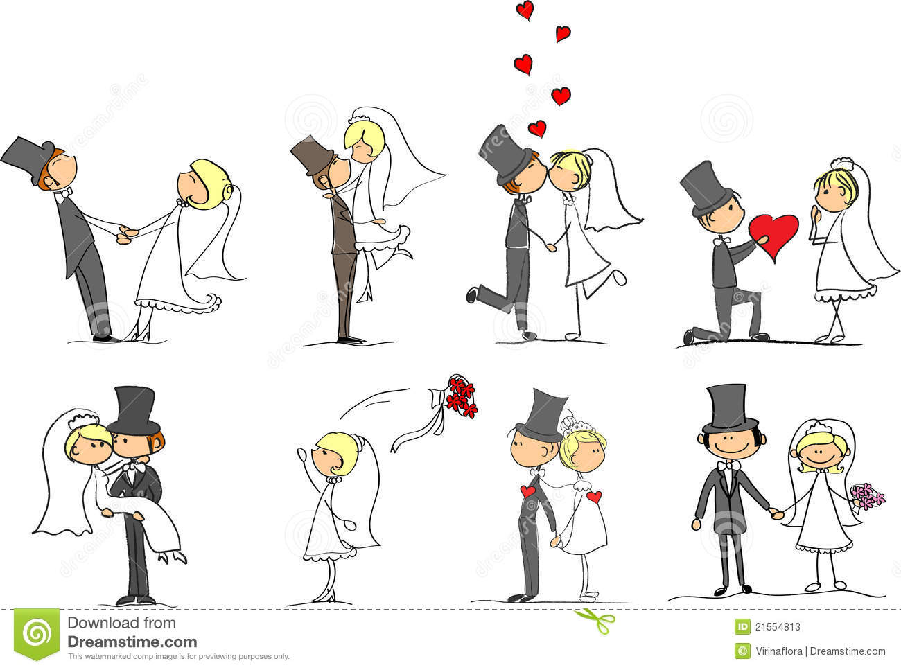 Set Of Wedding Pictures Vector Stock Photos