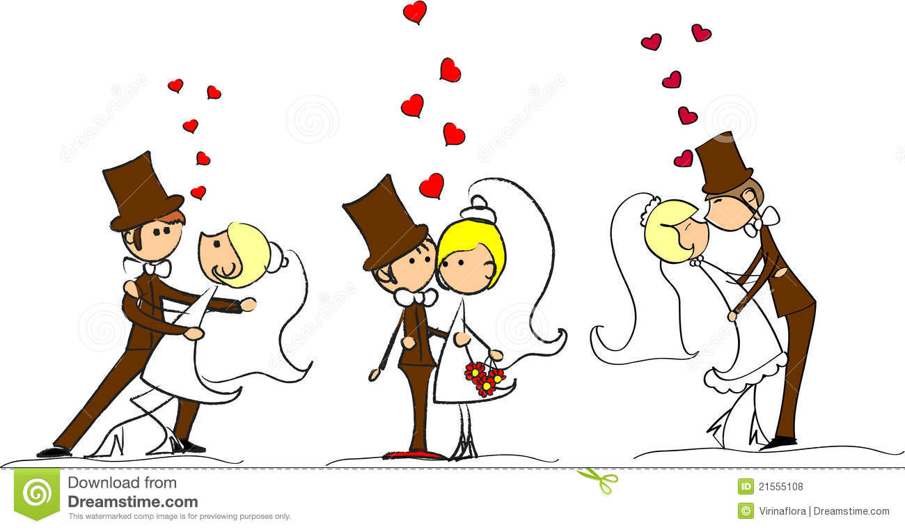 Set Of Wedding Pictures Vector Stock Vector Illustration Of Comic