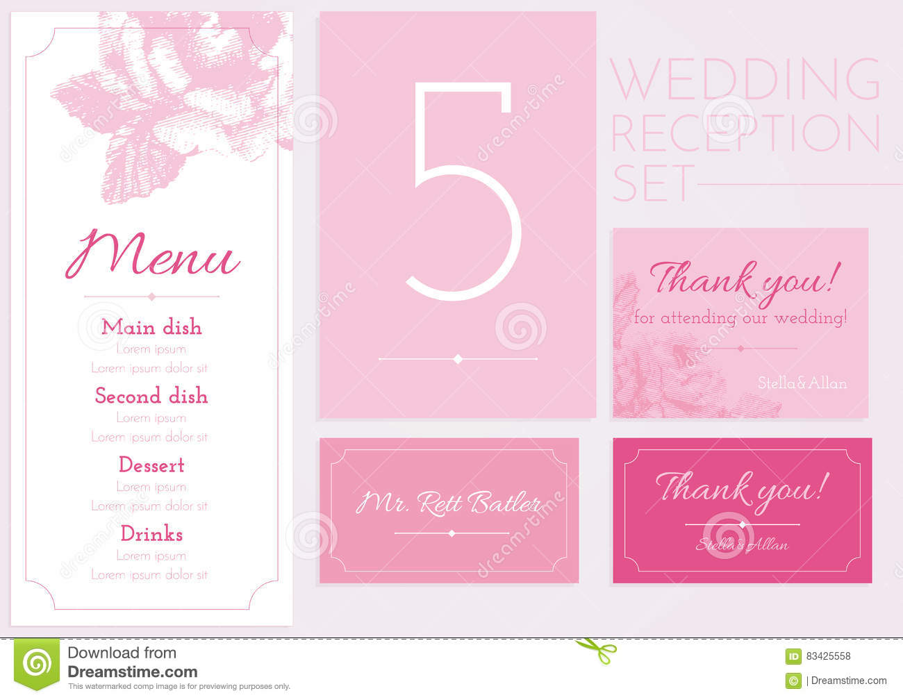 Set For Wedding Reception. Menu, Table Number, Thank Card, Sitting ...