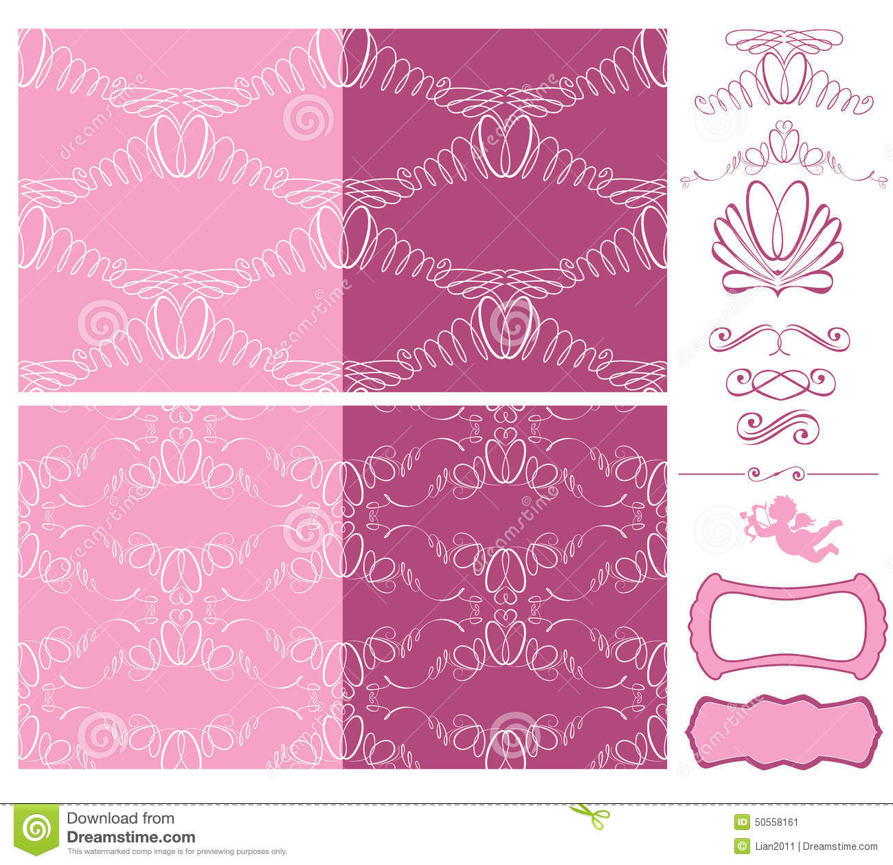 Set Of Wedding Seamless Patterns - Ornaments With Wedding Rings ...