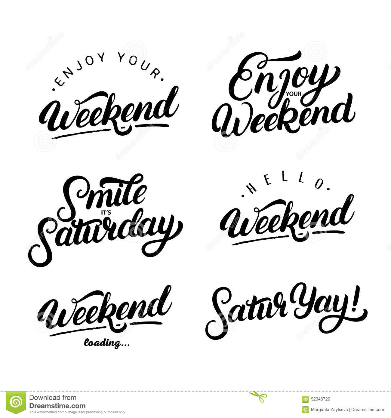 set of weekend quotes enjoy your weekend stock vector