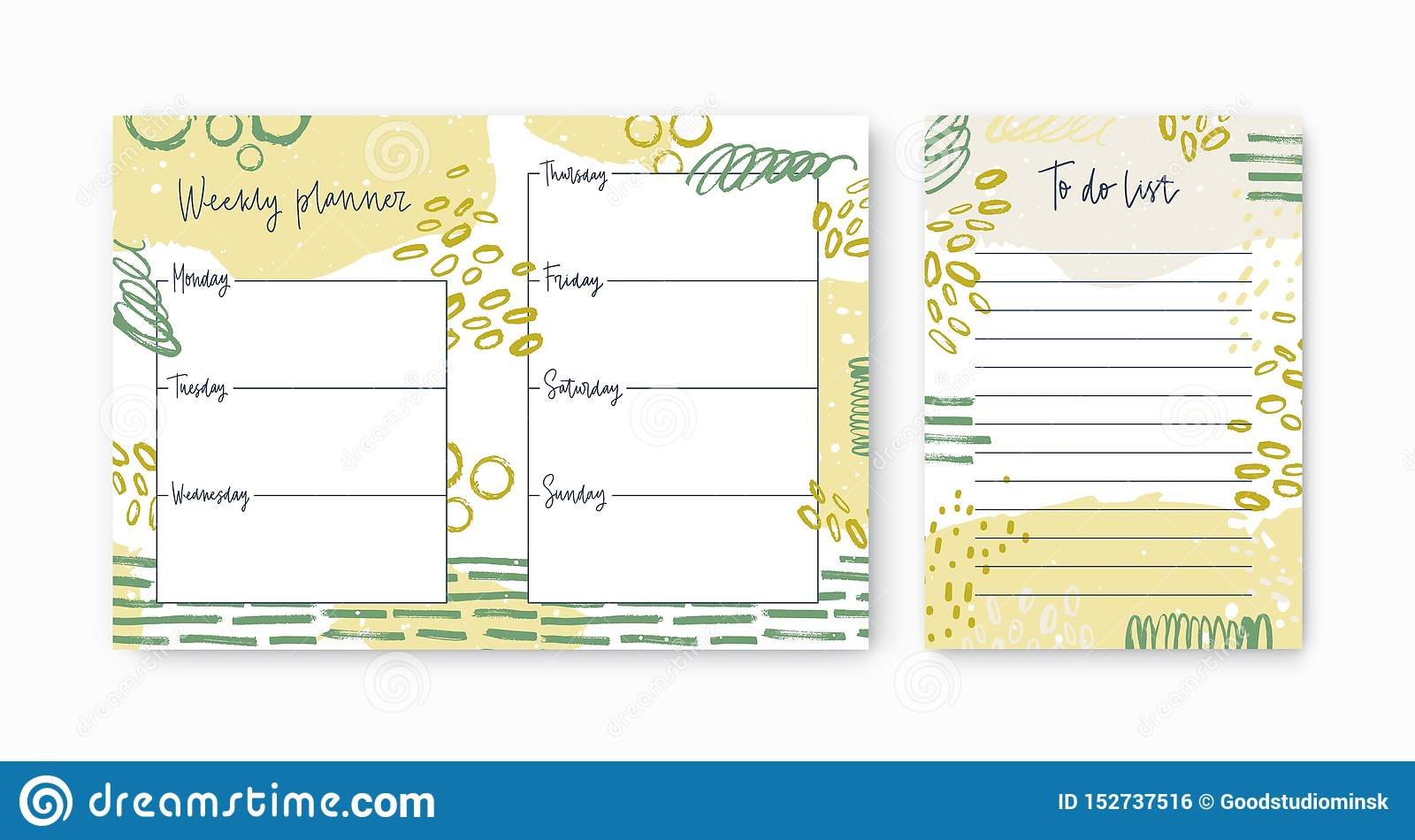 Set of Weekly Planner and To do list Templates Decorated by Vivid ...