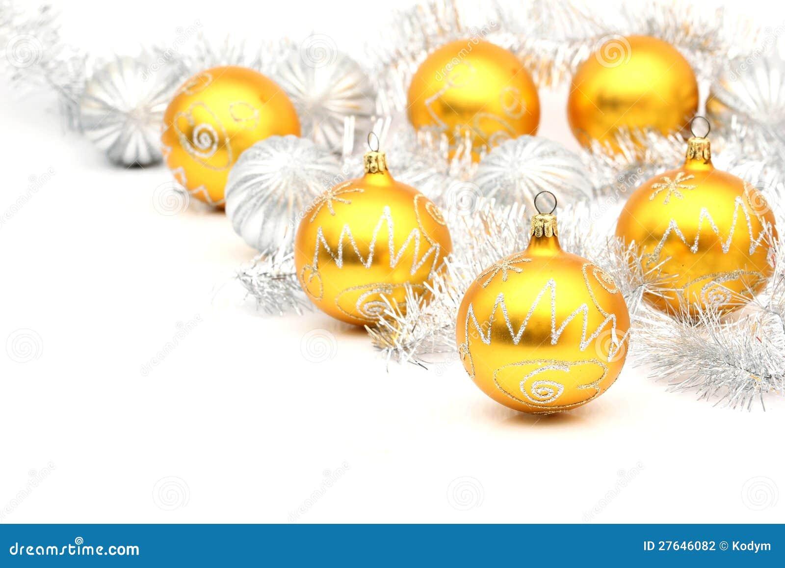 set wei e und gelbe weihnachtskugeln stockfoto bild 27646082. Black Bedroom Furniture Sets. Home Design Ideas