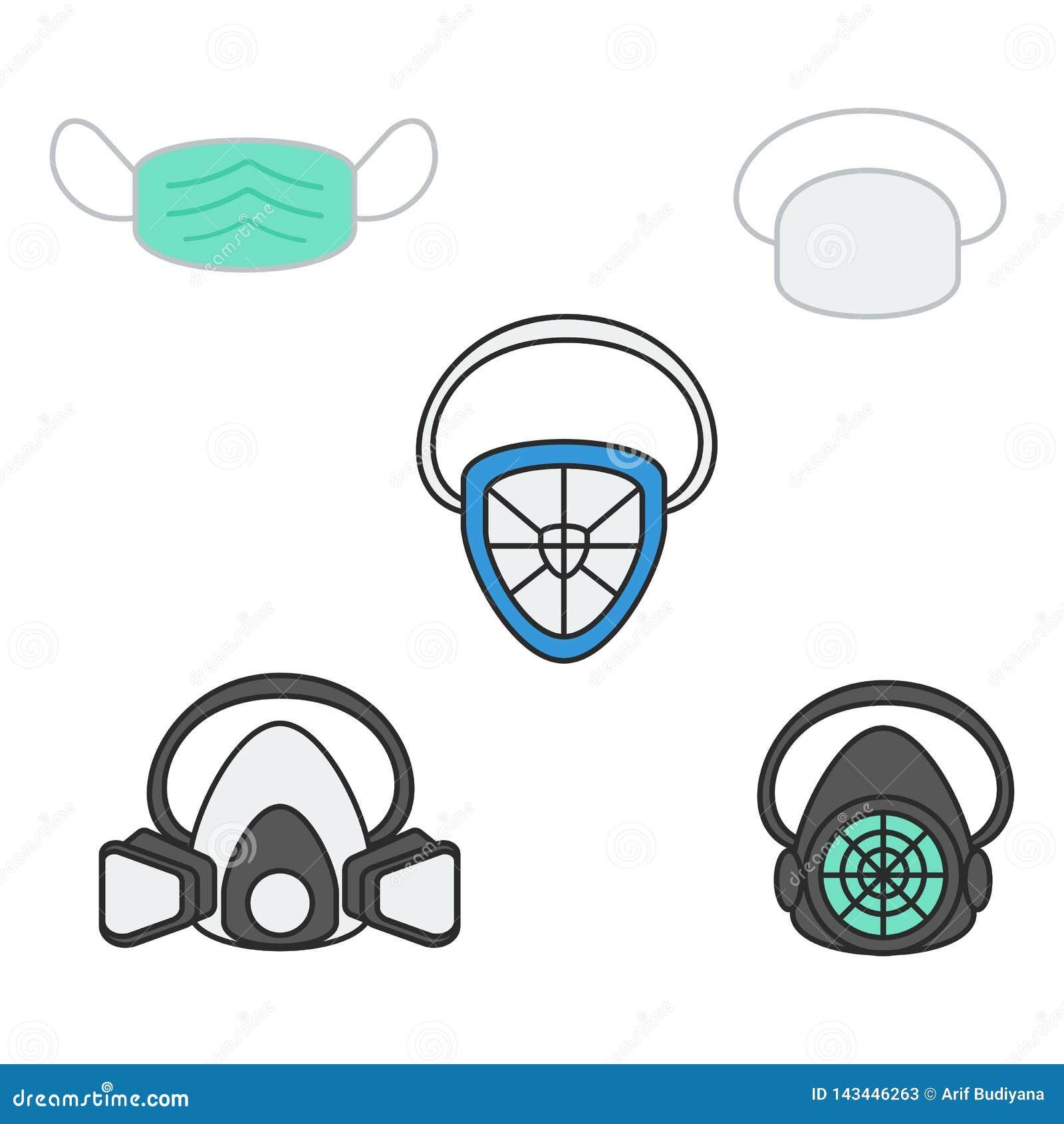 Set wektorowa ilustracyjna bezpieczeństwo maska, respirator i