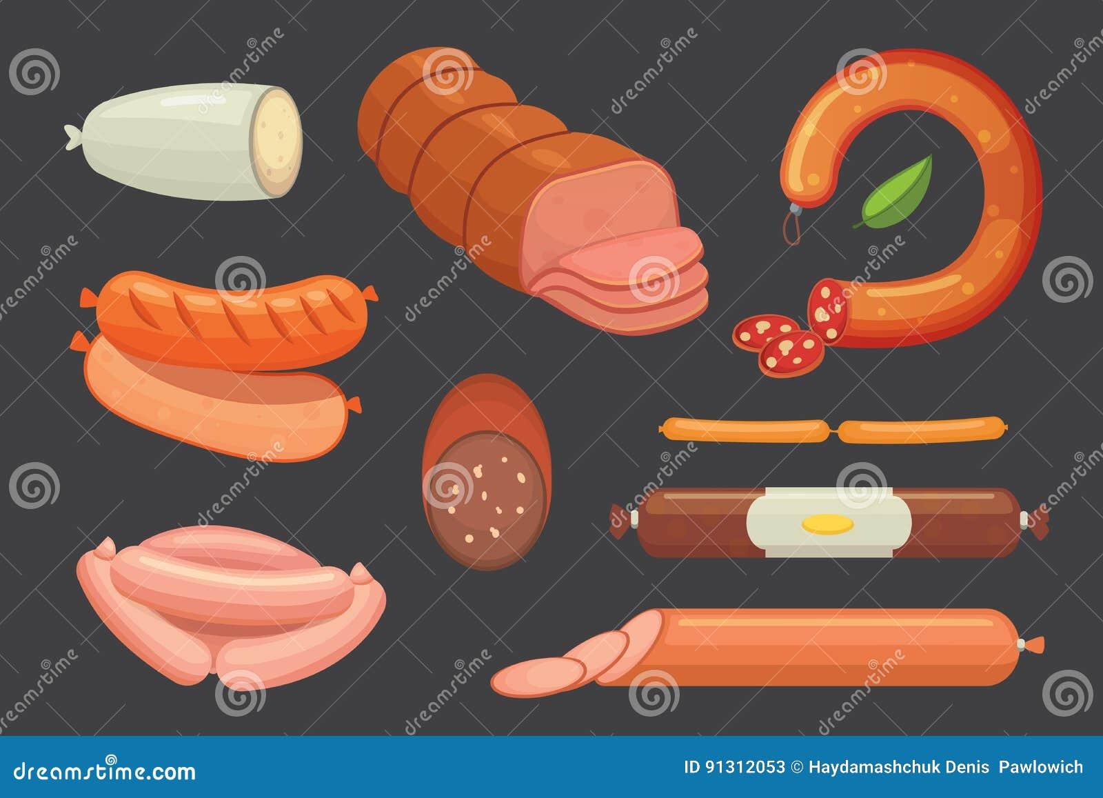 Set wektorowa kreskówki kiełbasa Bekon, pokrojony salami i Dymiący Gotowany, Odosobnione świeże Garmażeryjne ikony grilled