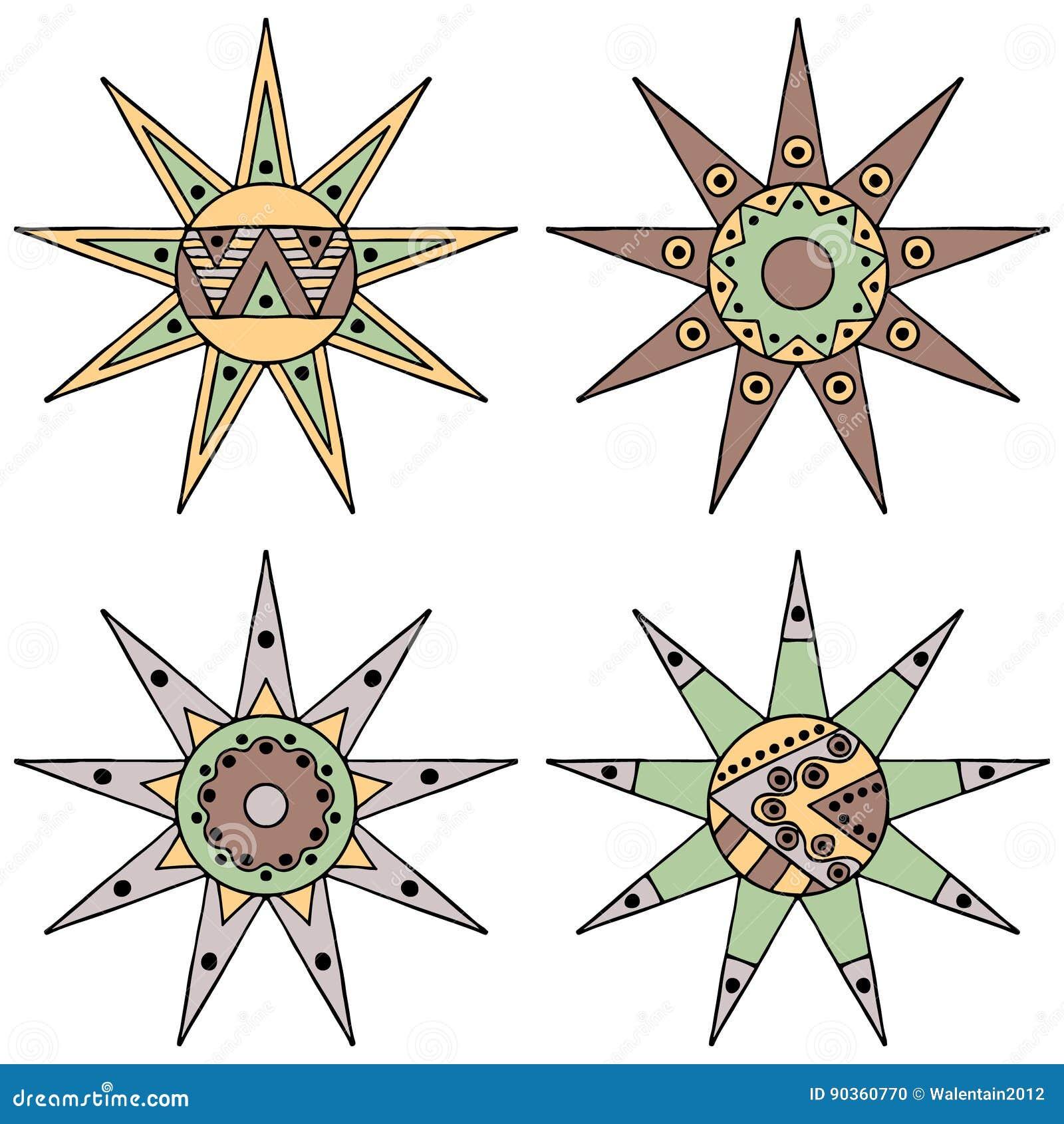 Set wektorowa ręka rysujący dekoracyjnego stylizowanego rocznika brązu dziecięcy plemienny słońce z światłami Doodle styl, plemie