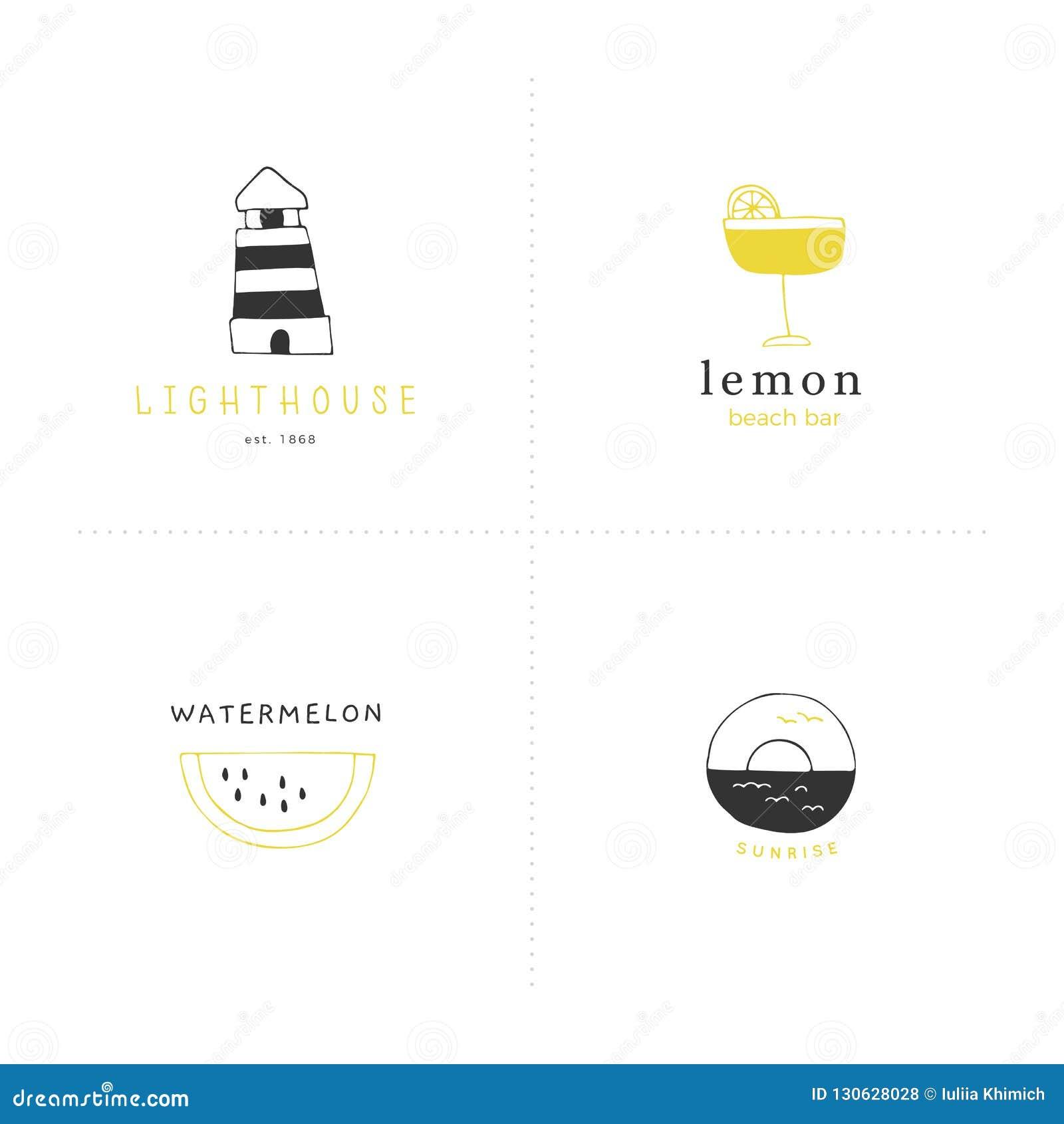 Set wektorowa ręka rysujący logo szablony Plażowy i denny temat