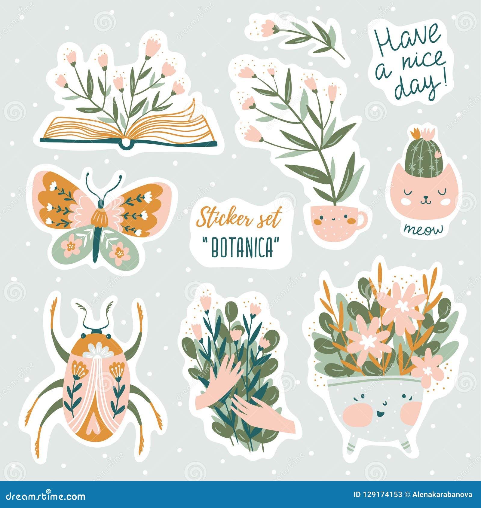 Set wektorowe śliczne doodles ilustracje z teksta i graficznego projekta elementami Modny projekt dla dzieciaków majcherów
