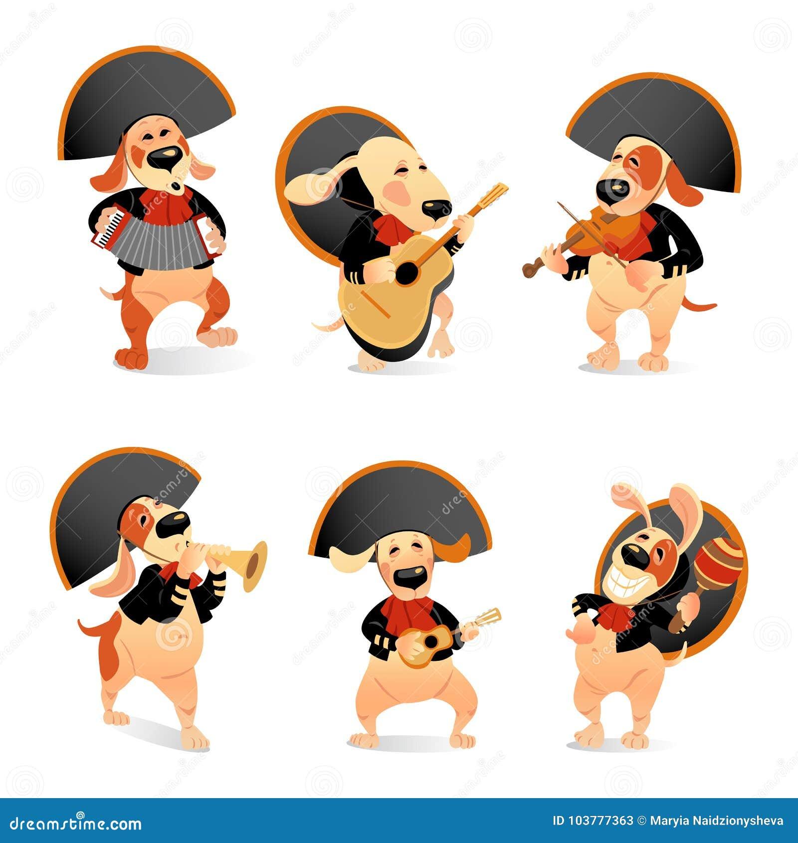 Set wektorowe ilustracje śmieszni psy w mariachi kostiumach z tradycyjnymi instrumentami muzycznymi na białym tle