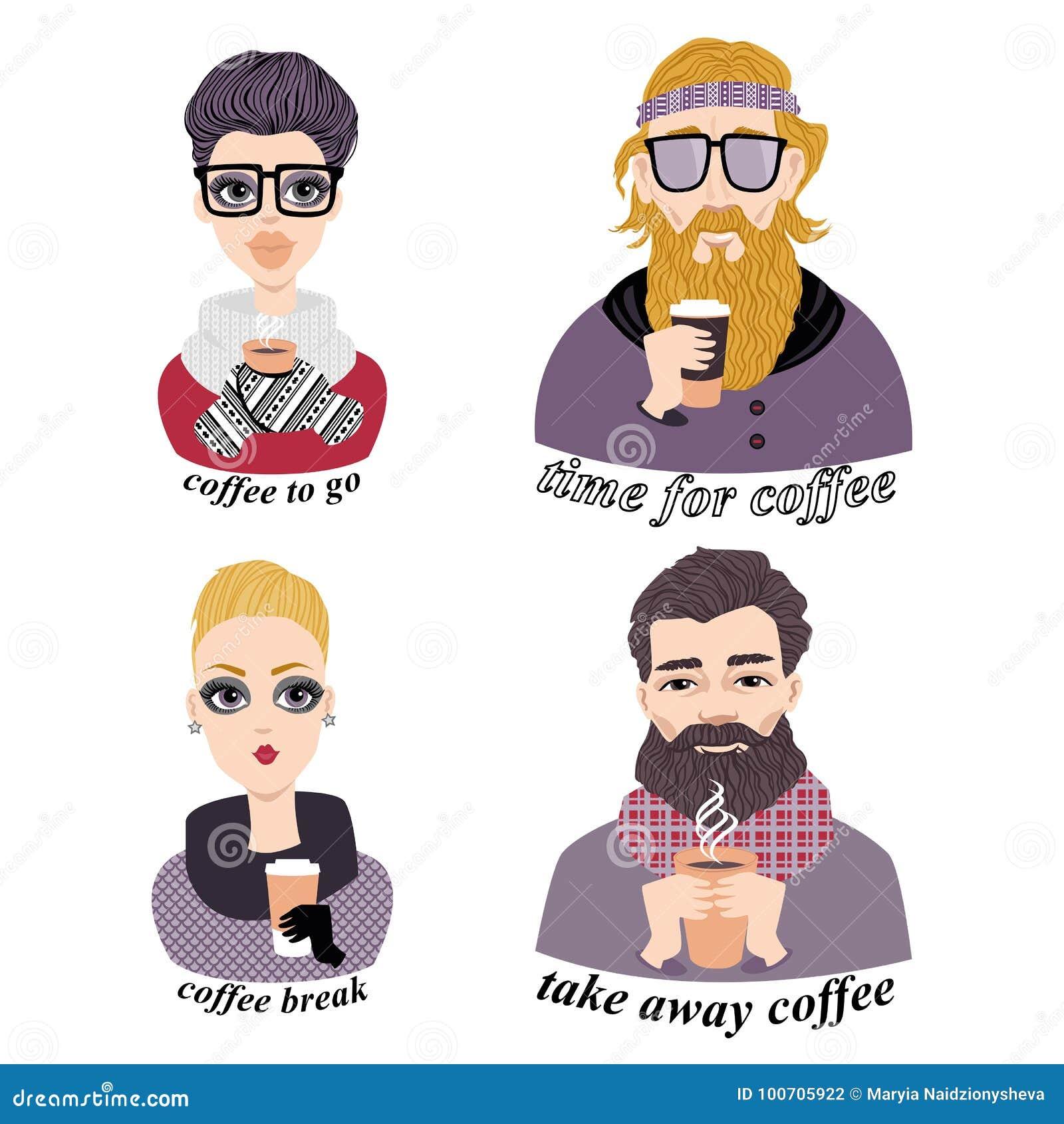 Set wektorowe ilustracje modni młodzi ludzie pije kawę