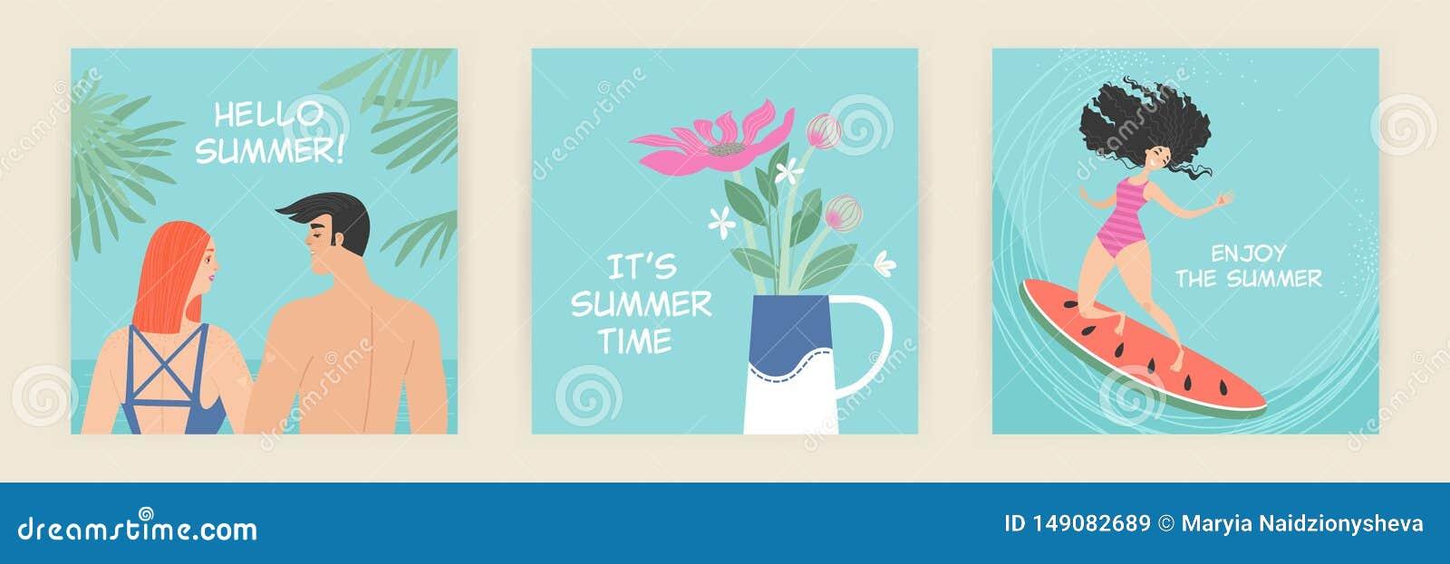 Set wektorowe kartki z pozdrowieniami z lato ilustracjami śliczne postacie z kreskówki