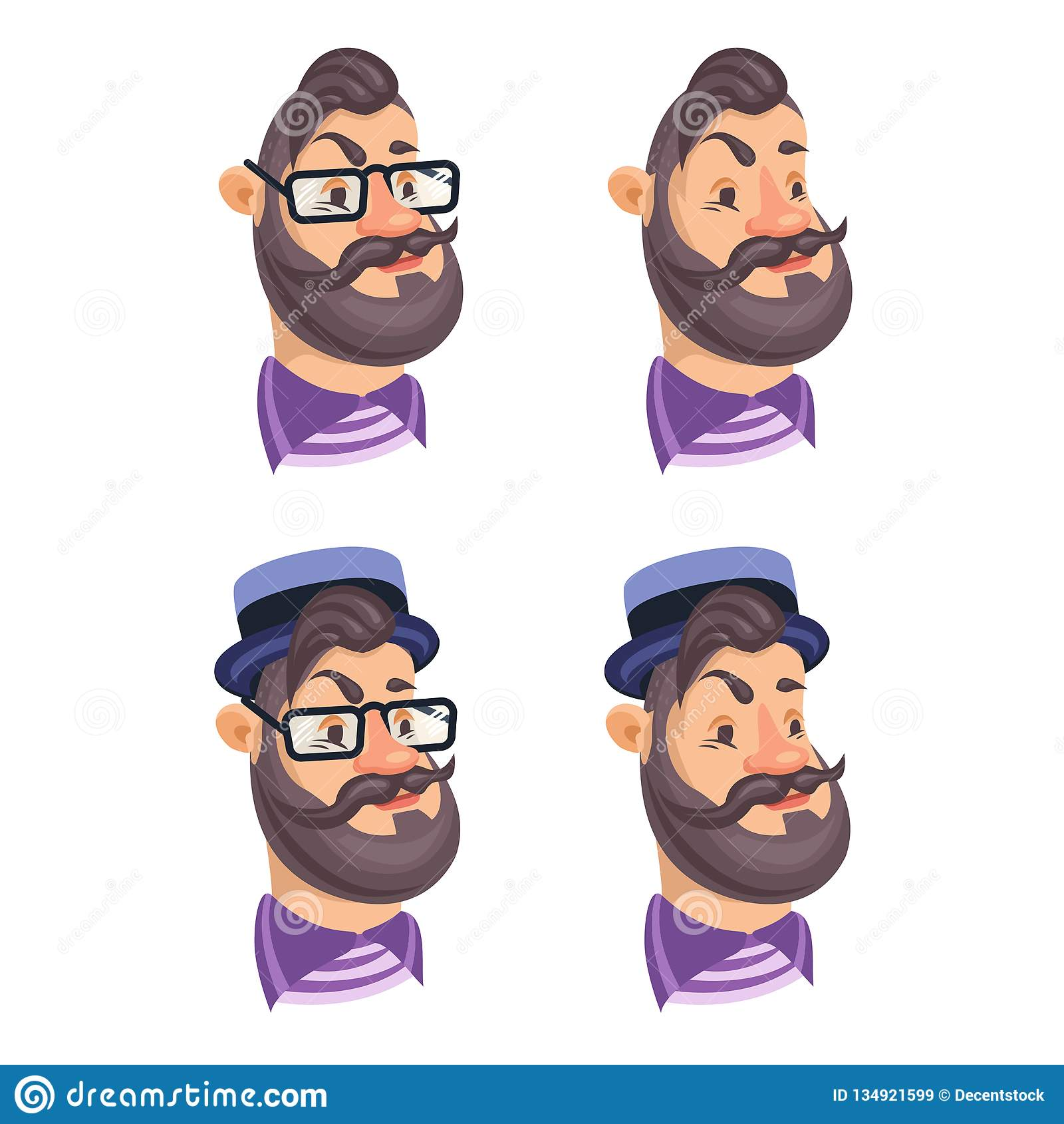 Set wektorowi brodaci mężczyzna twarzy modnisie