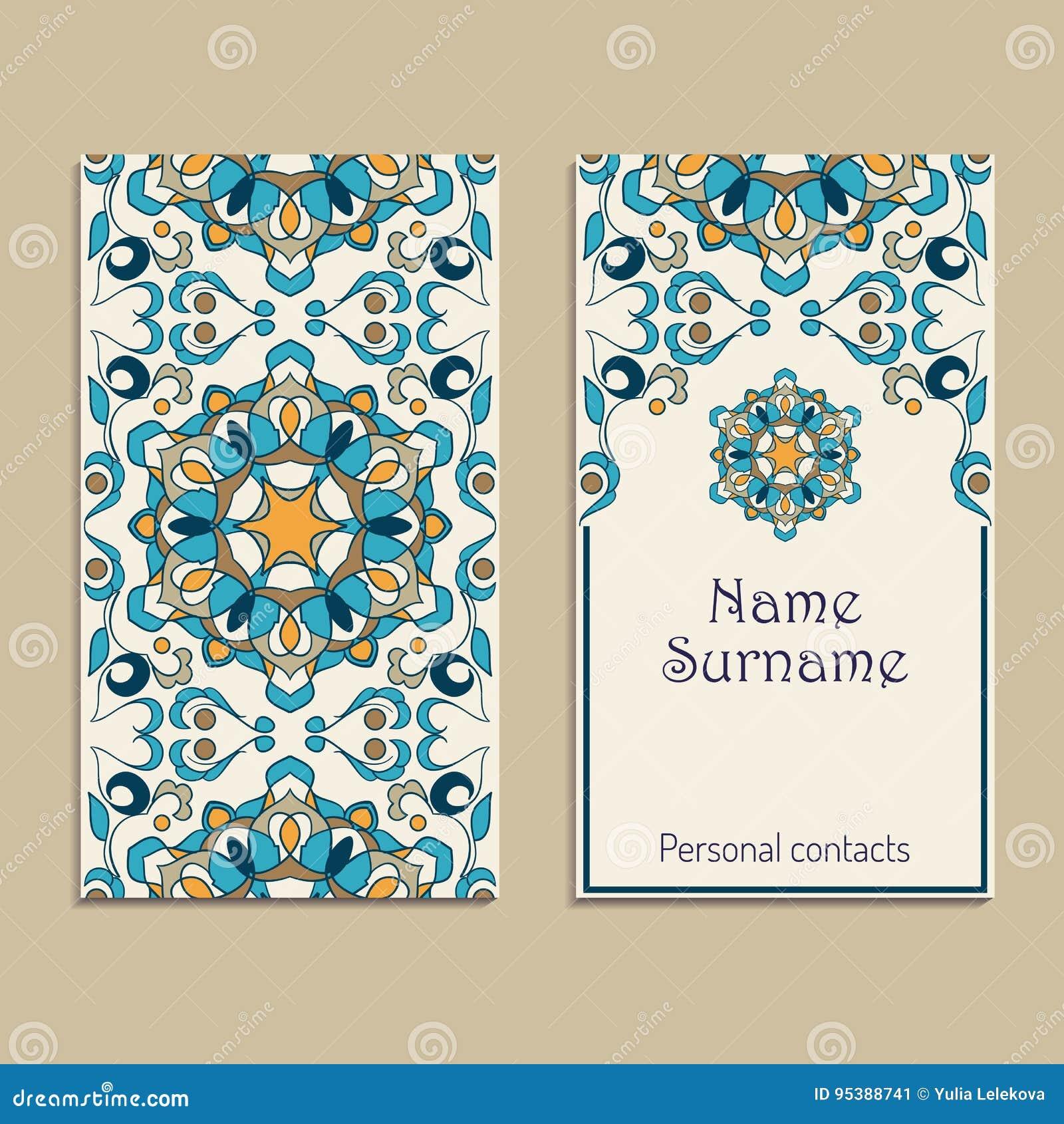 Set wektorowi wizytówka szablony Portugalczyk, marokańczyk, Azulejo, język arabski, azjata ornamenty