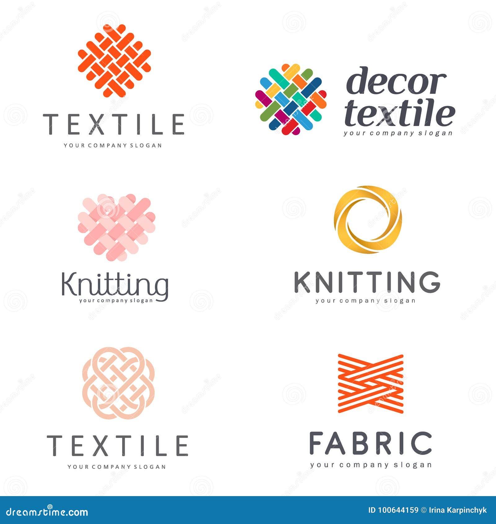 Set Wektorowy loga projekt dla sklepowego dziania, tkanina