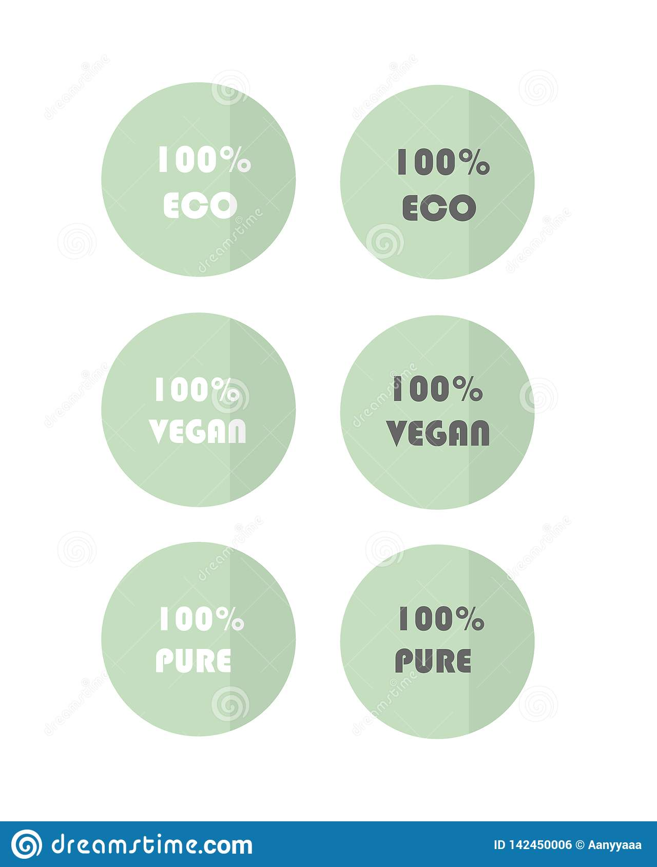 Set wektorowy sieci zieleni eco przylepia etykietkę cticker weganinu czysty eco