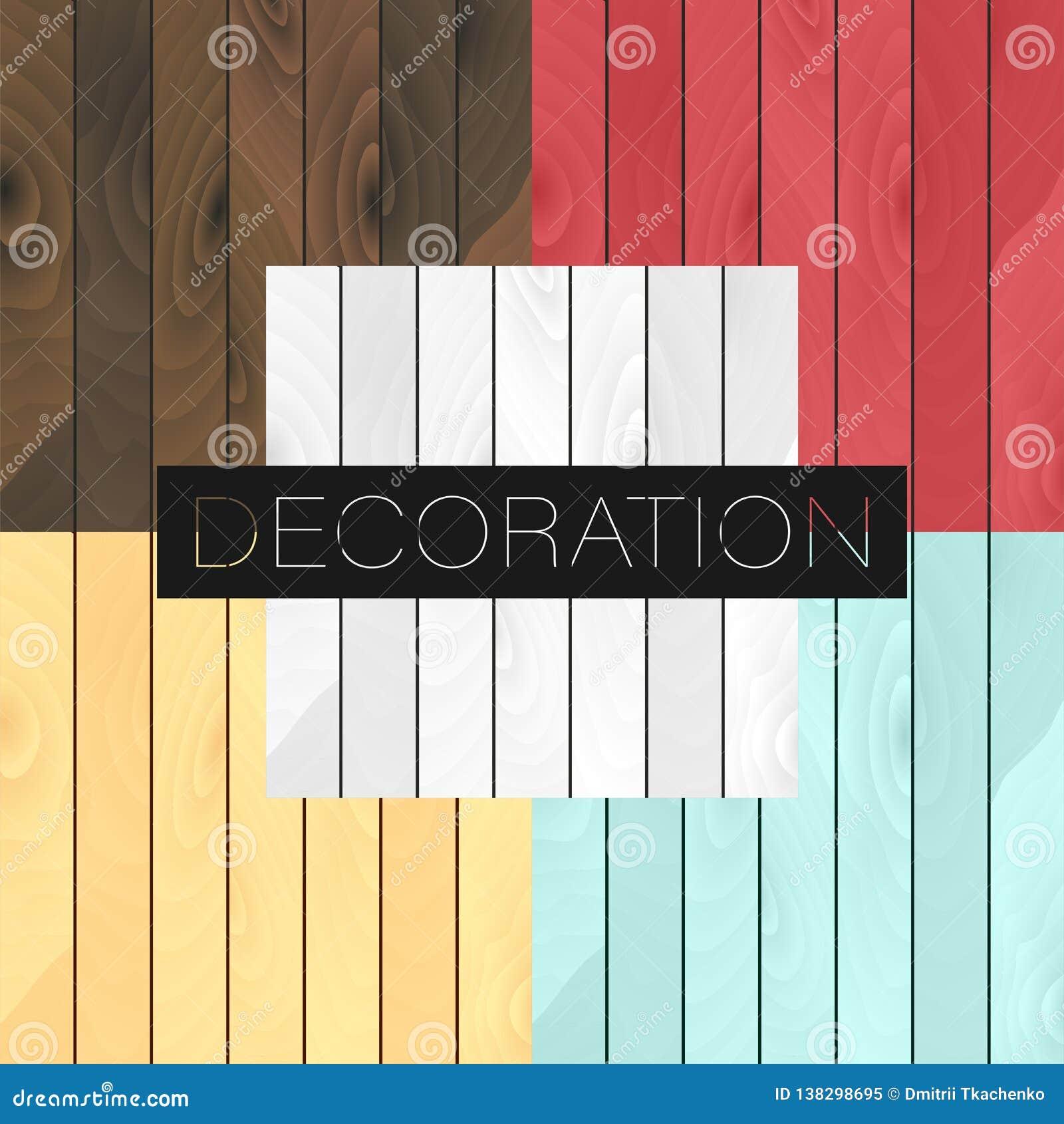Set 5 wektorowych drewnianych realistycznych tekstur barwi