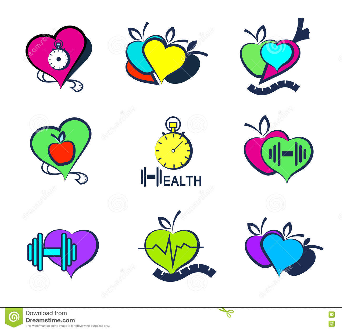 Set Wellness Symbols Healthy Food And Fitness Stock Vector